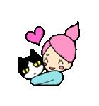 無愛想ネコと女の子(個別スタンプ:04)