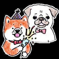 柴犬とパグの年末年始スタンプ