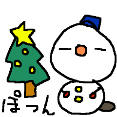 冬の雪だるまスタンプ snow man