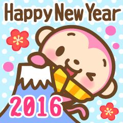 あけおめ ピンクおさる 2016