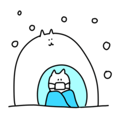 ねことうさぎの冬スタンプ