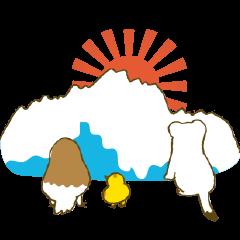 冬の立山連峰に住む雷鳥とオコジョの富山弁