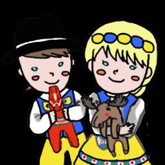 MajaとKalle (スウェーデン語スタンプ)