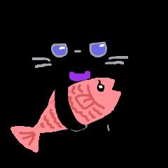 黒猫ちゃるたと魚のちゃるれ