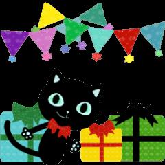 [LINEスタンプ] 黒ネコのシエルブルー