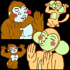 [LINEスタンプ] ゴリラ青男と猿緑男