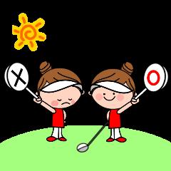 女子ゴルファーを応援するスタンプ
