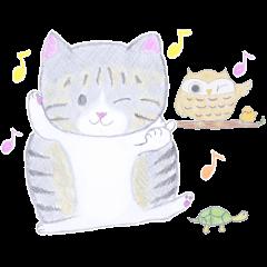 キジトラ白猫 「ちびたん」の一日