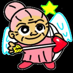 [LINEスタンプ] 天使のピンクおばあちゃん (1)