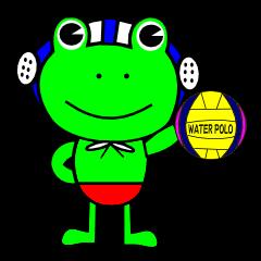 水球頑張るカエル