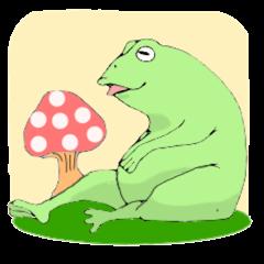 親切なカエルのスタンプ