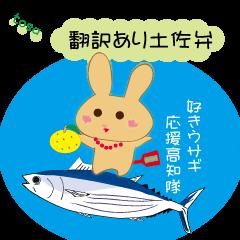 [LINEスタンプ] 土佐弁好きウサギ応援高知隊(翻訳あり)の画像(メイン)
