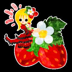 苺のスイーツと小人達のスタンプ