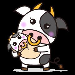 かわいい動物 うし子 2【牛の家族】